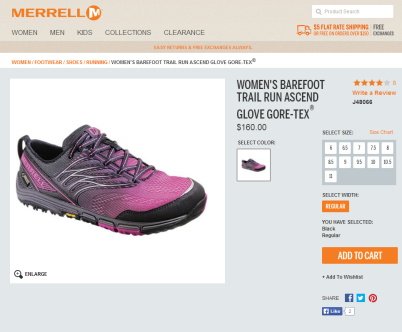 merrell barefoot trail run ascend glove gore-tex